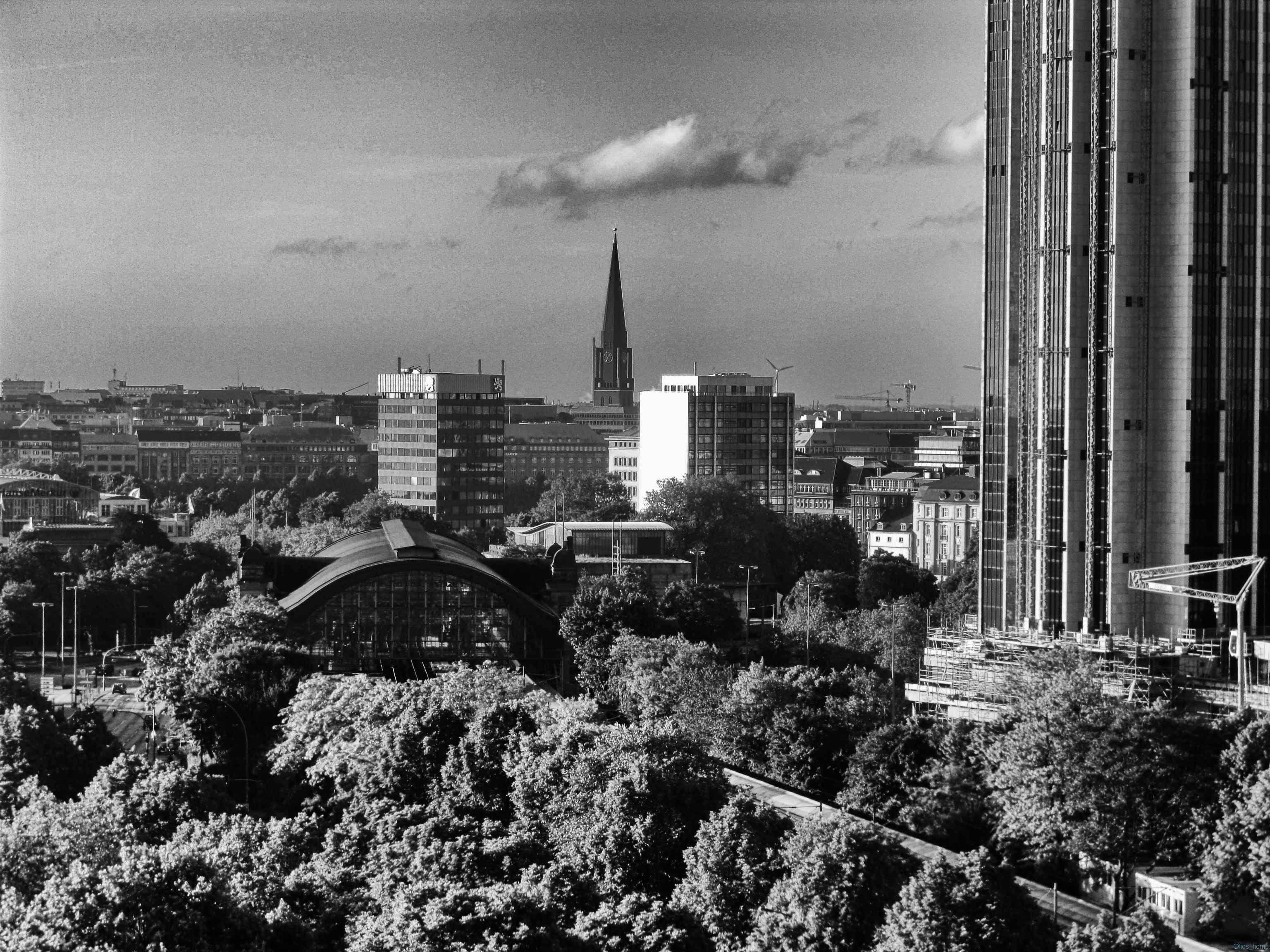 Vom Dach der SUB Hamburg,Nikon D700, sw, Nik Collection Silver Efex Pro